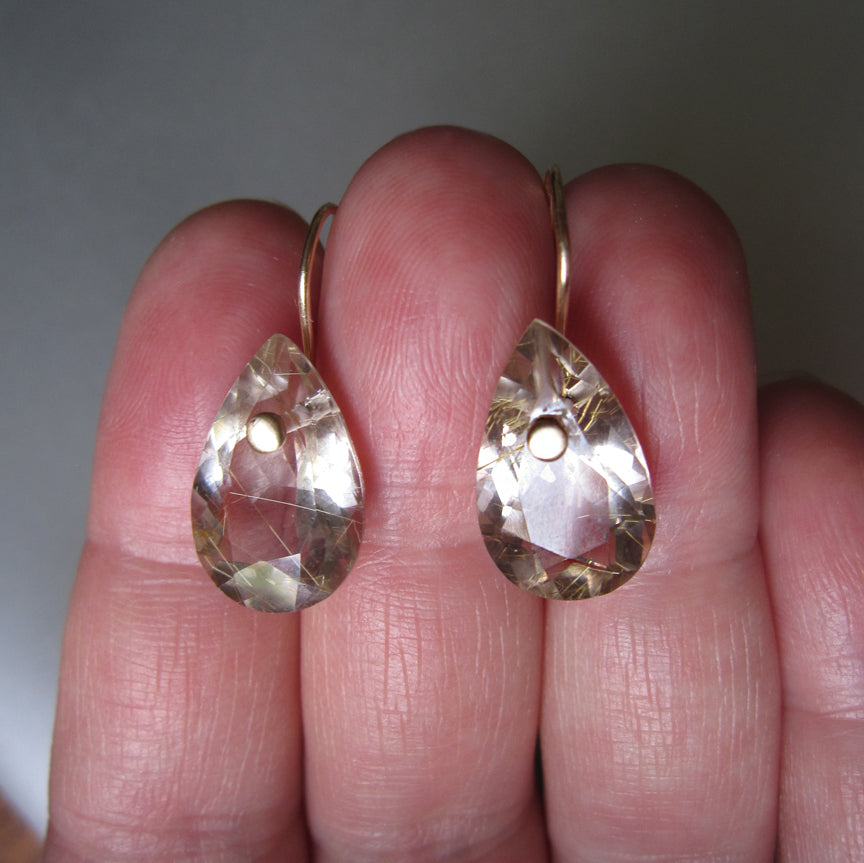 smoky golden rutilated quartz drops solid 14k gold earrings5