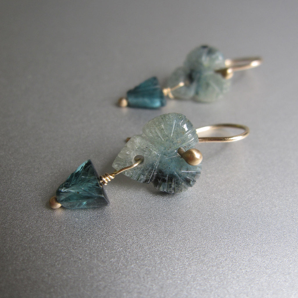 carved indicolite tourmaline flower double drops solid 14k gold earrings3