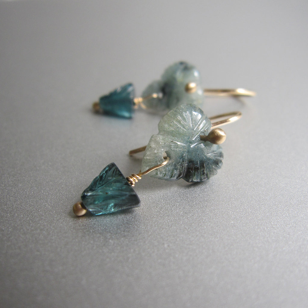 carved indicolite tourmaline flower double drops solid 14k gold earrings