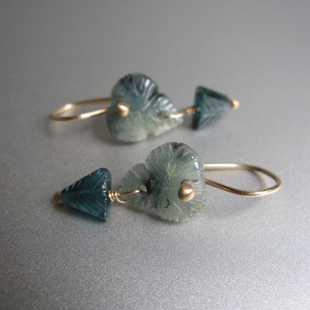 carved indicolite tourmaline flower double drops solid 14k gold earrings4