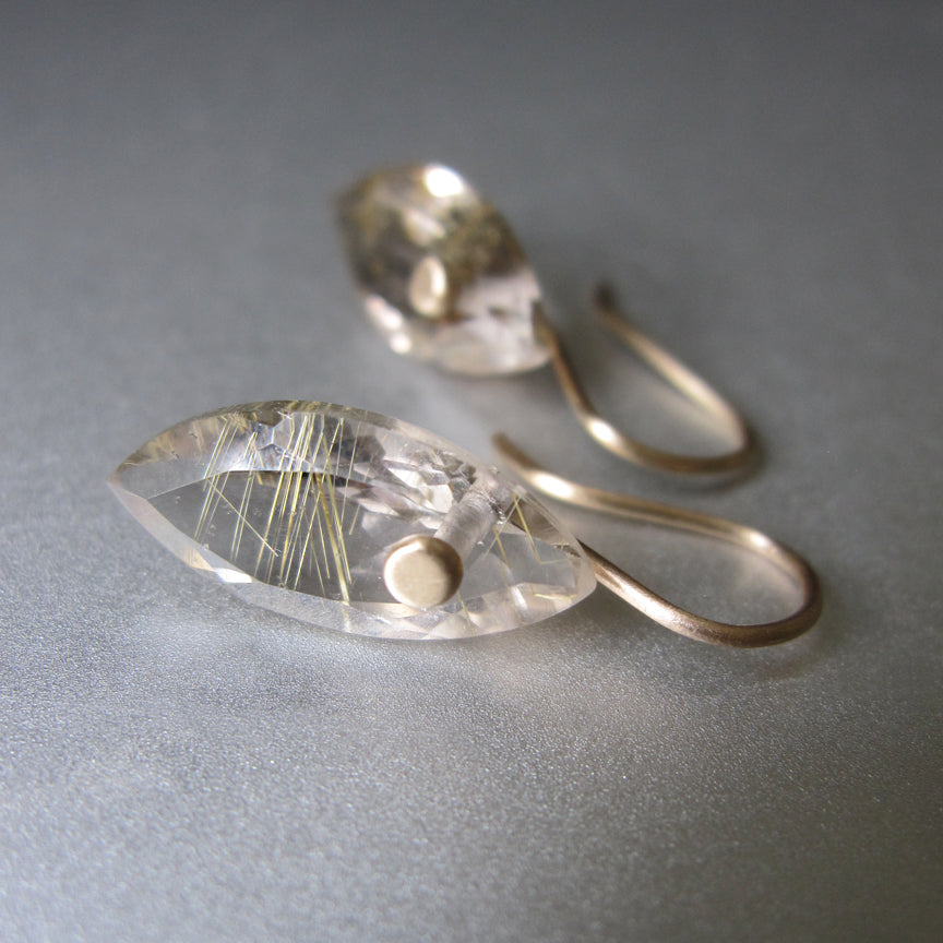 Smoky Gold Rutilated Quartz Marquise Drops Solid 14k Gold Earrings2