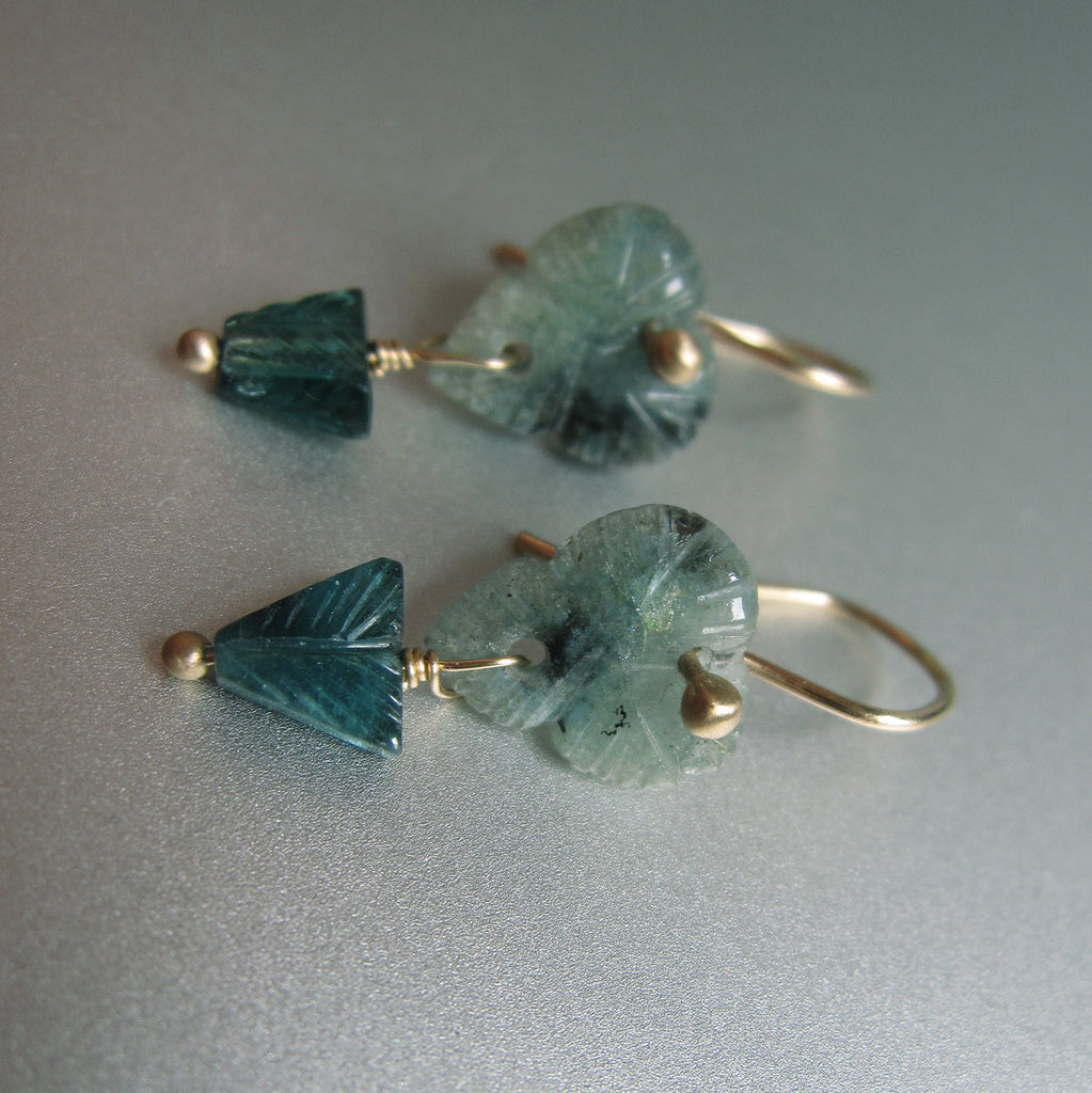 carved indicolite tourmaline flower double drops solid 14k gold earrings5