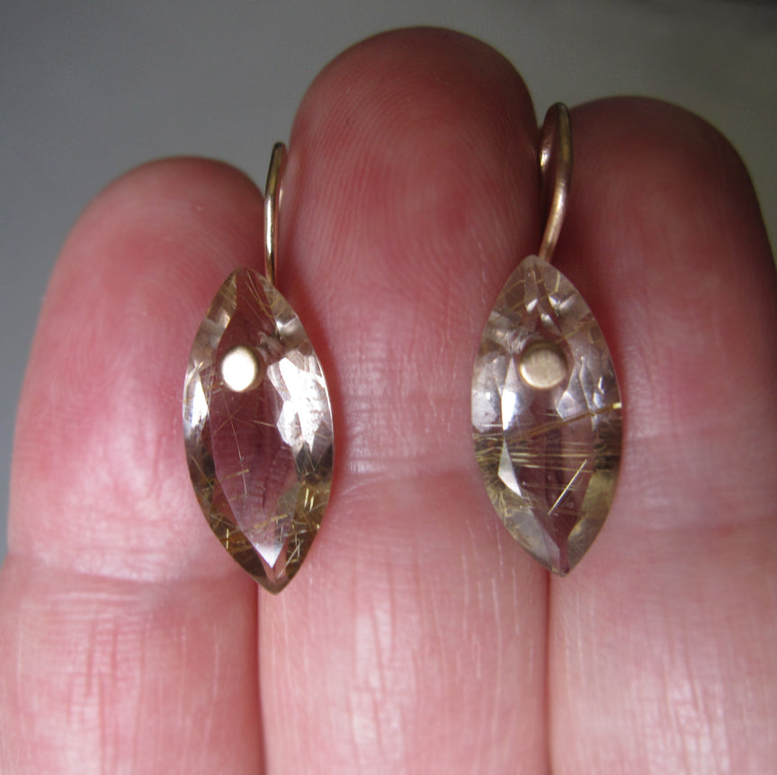 Smoky Gold Rutilated Quartz Marquise Drops Solid 14k Gold Earrings6