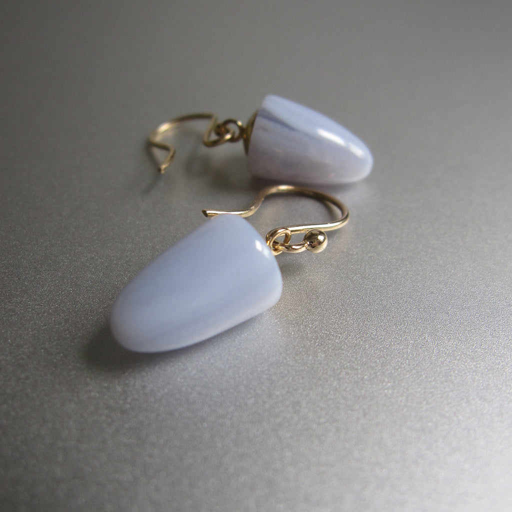 blue lace agate bullet drops solid 14k gold earrings