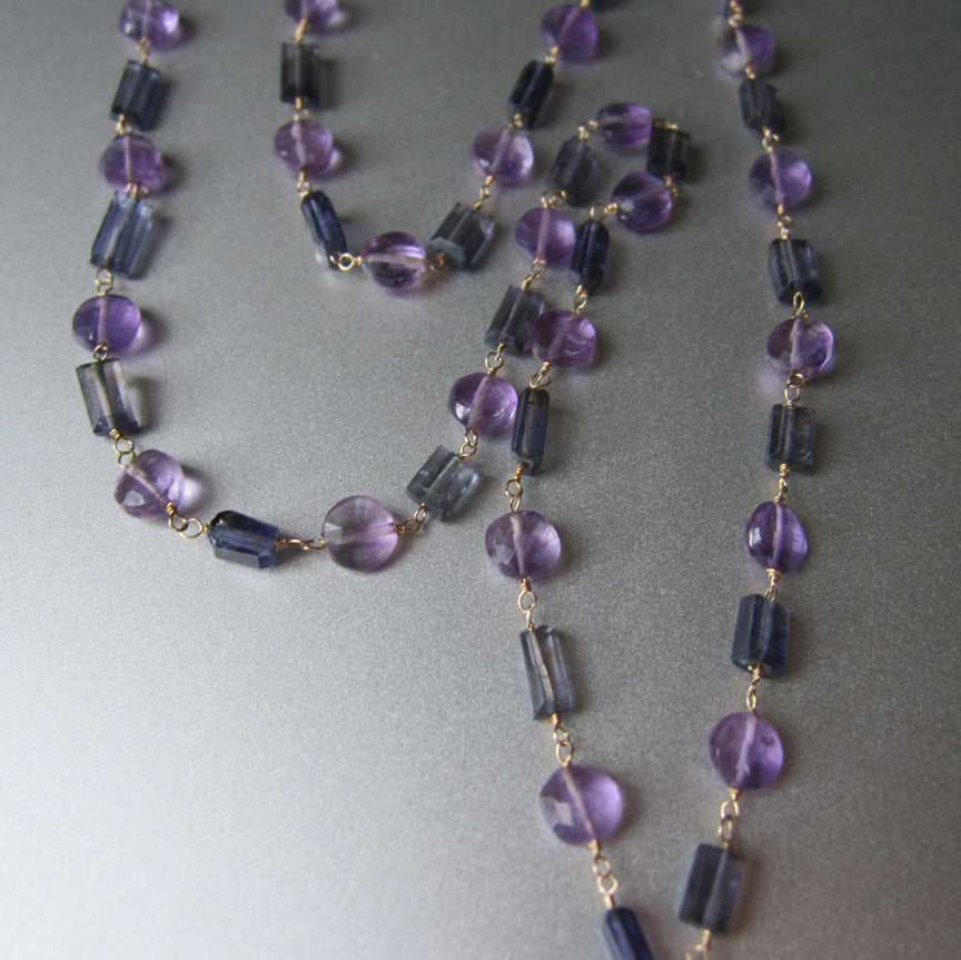 long amethyst and iolite 14k gold necklace with amethyst large marble pendant