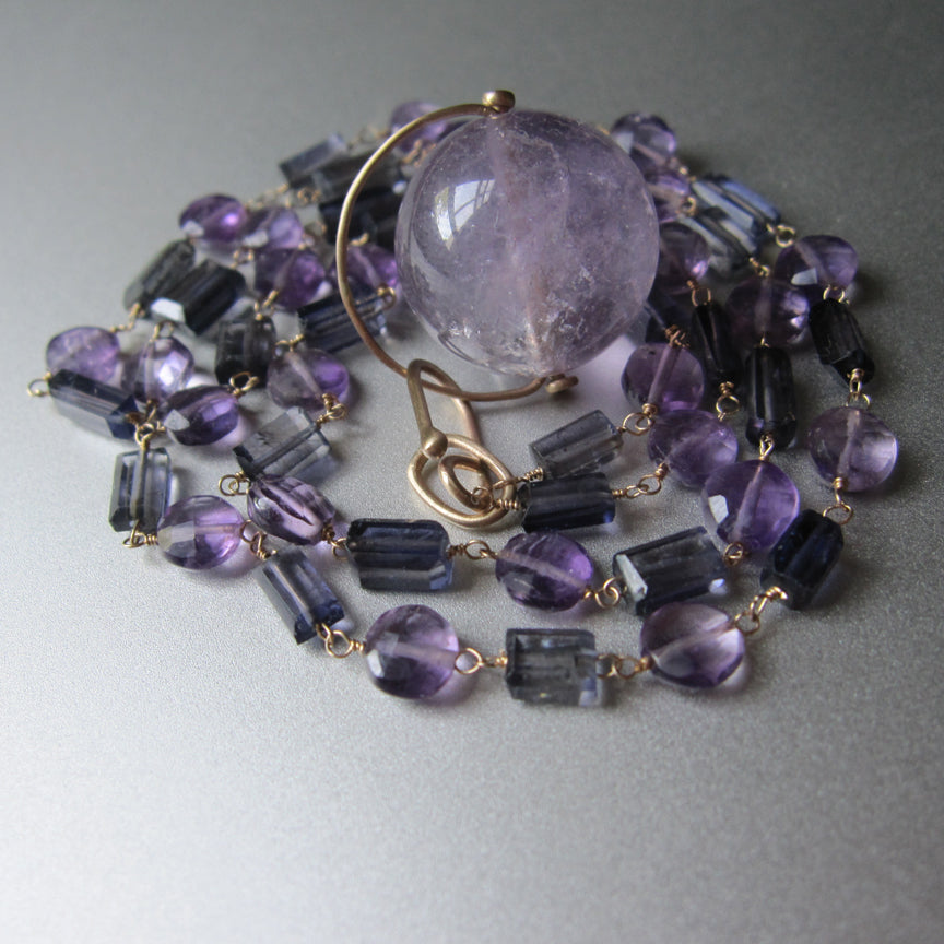 long amethyst and iolite 14k gold necklace with amethyst large marble pendant7