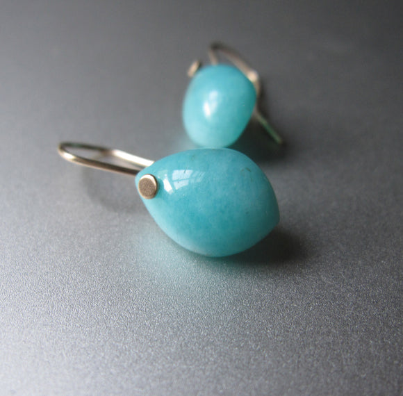 small amazonite pointed drops solid 14k gold earrings