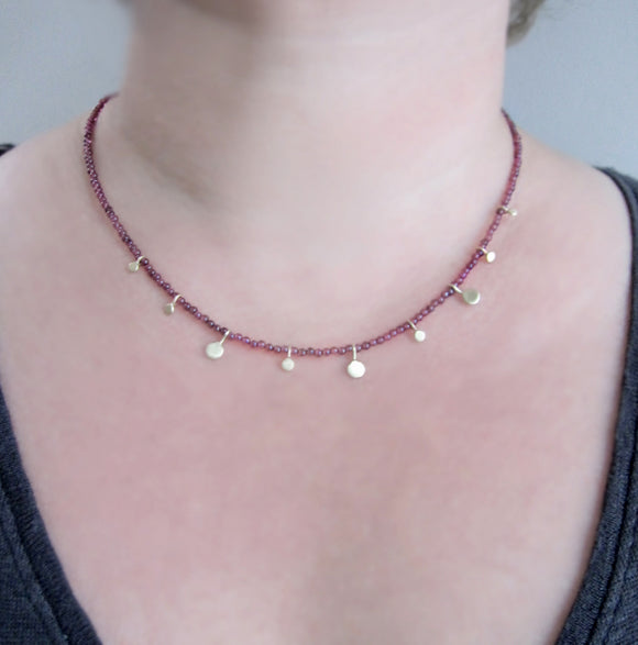 Dark Red Garnet Seed Bead Gold Disc Dangle Solid 14k Gold Necklace