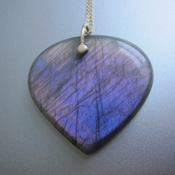 large purple labradorite drop solid 14k gold necklace3