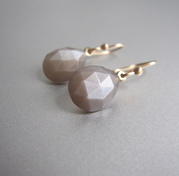 small faceted warm gray moonstone drops solid 14k gold earrings