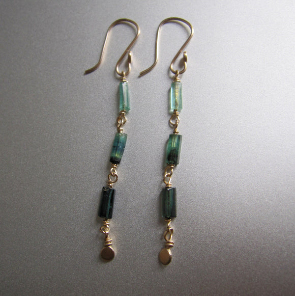 indicolite green tourmaline long crystal solid 14k gold earrings