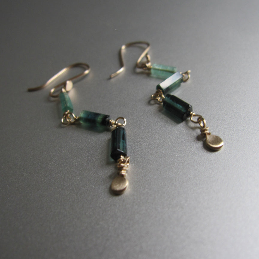 indicolite green tourmaline long crystal solid 14k gold earrings6