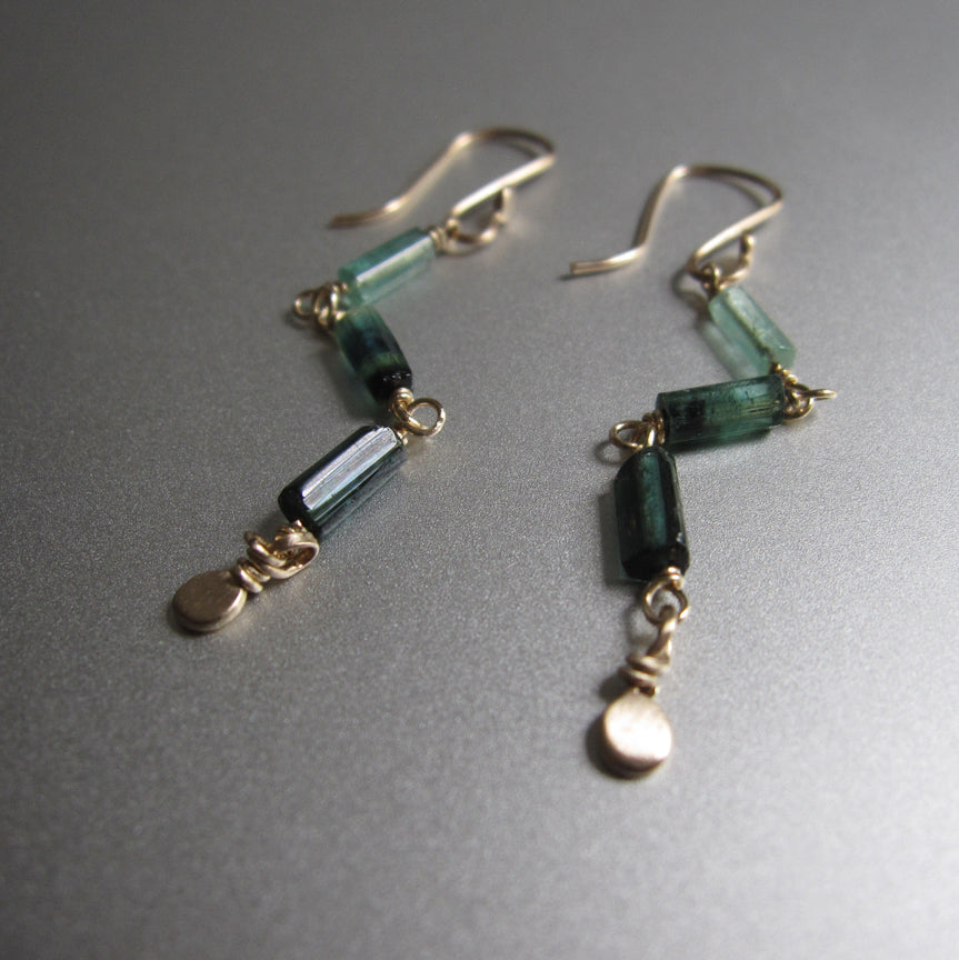 indicolite green tourmaline long crystal solid 14k gold earrings3