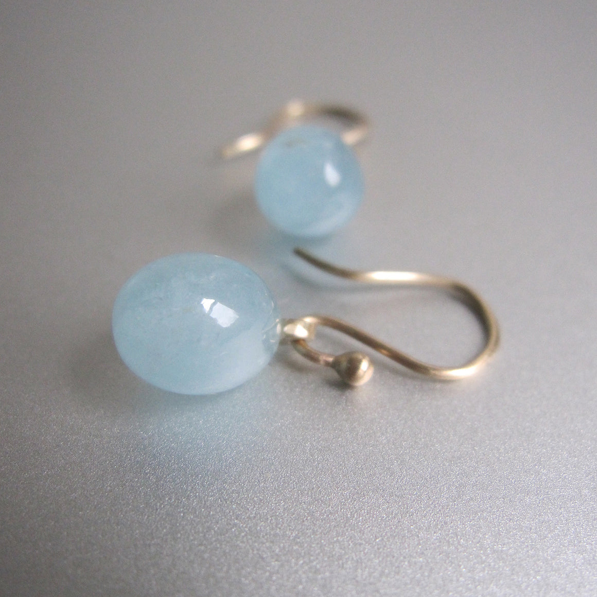 small aquamarine smooth drops solid 14k gold earrings