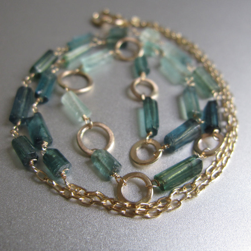 Indicolite Green Tourmaline Crystal Tube and Gold Ring Solid 14k Gold Necklace7