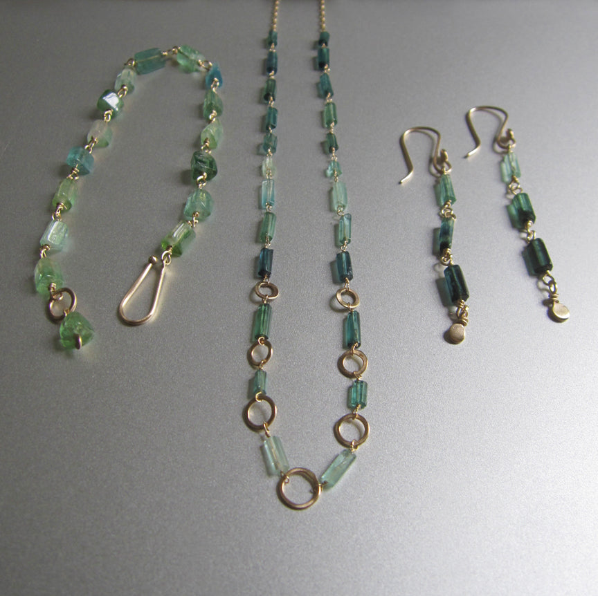 Indicolite Green Tourmaline Crystal Tube and Gold Ring Solid 14k Gold Necklace6