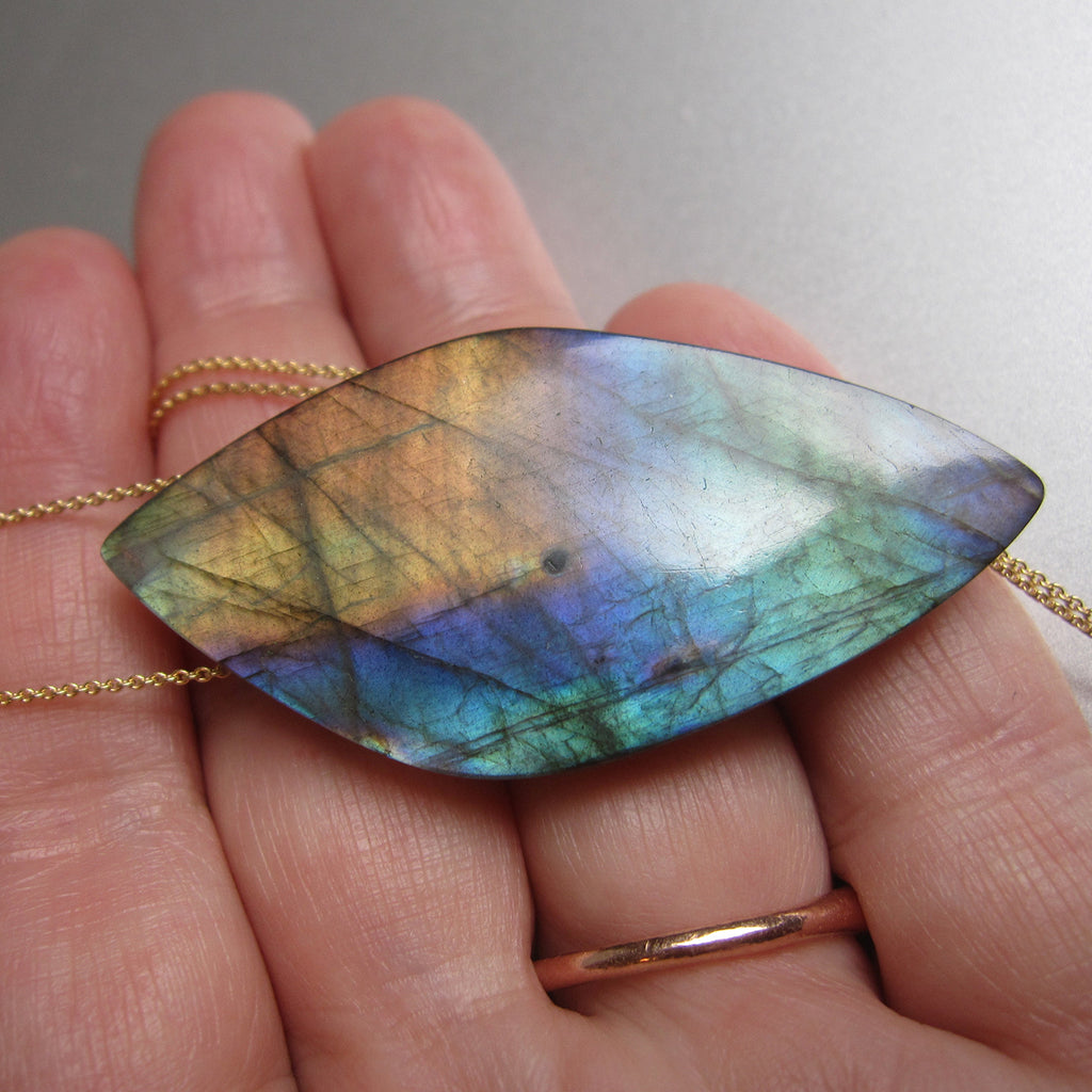 large rainbow labradorite pointed drop pendant solid 14k gold necklace6