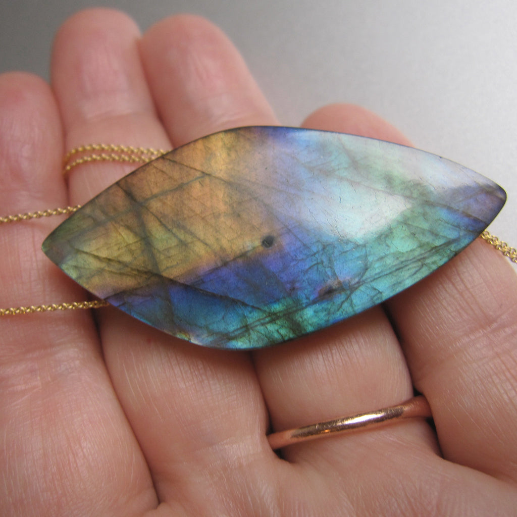 large rainbow labradorite pointed drop pendant solid 14k gold necklace7