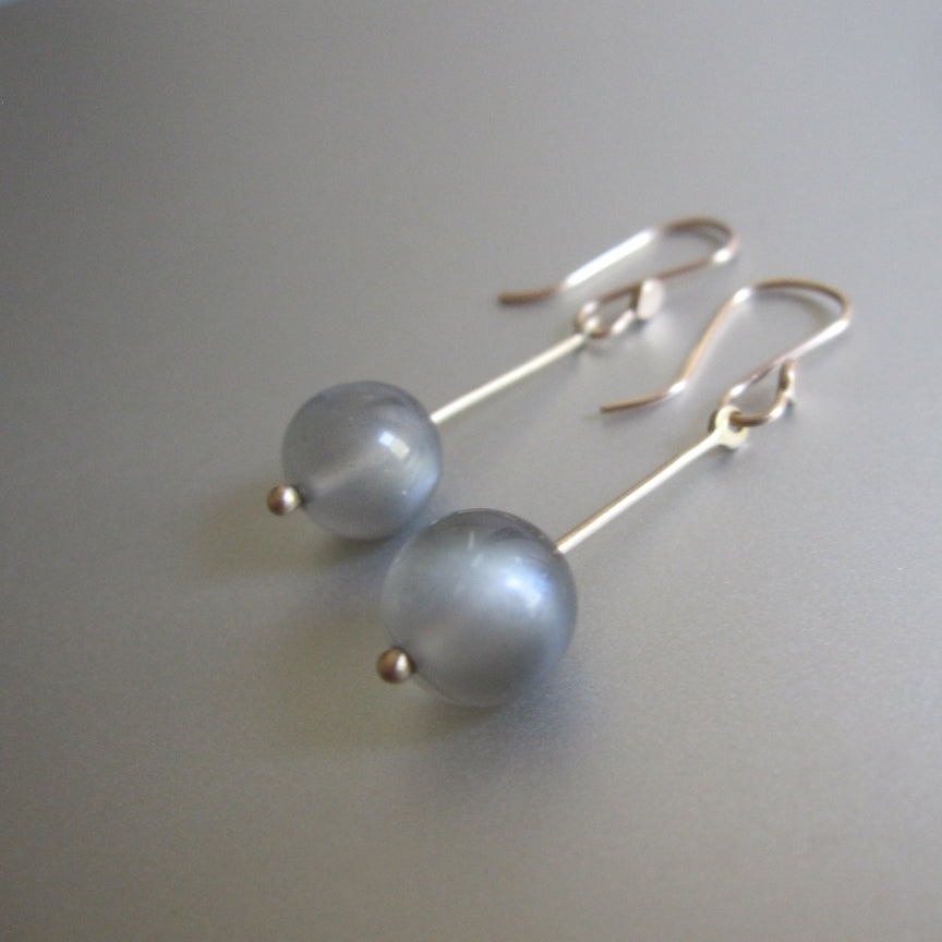 long gold rod and gray moonstone marble solid 14k gold earrings