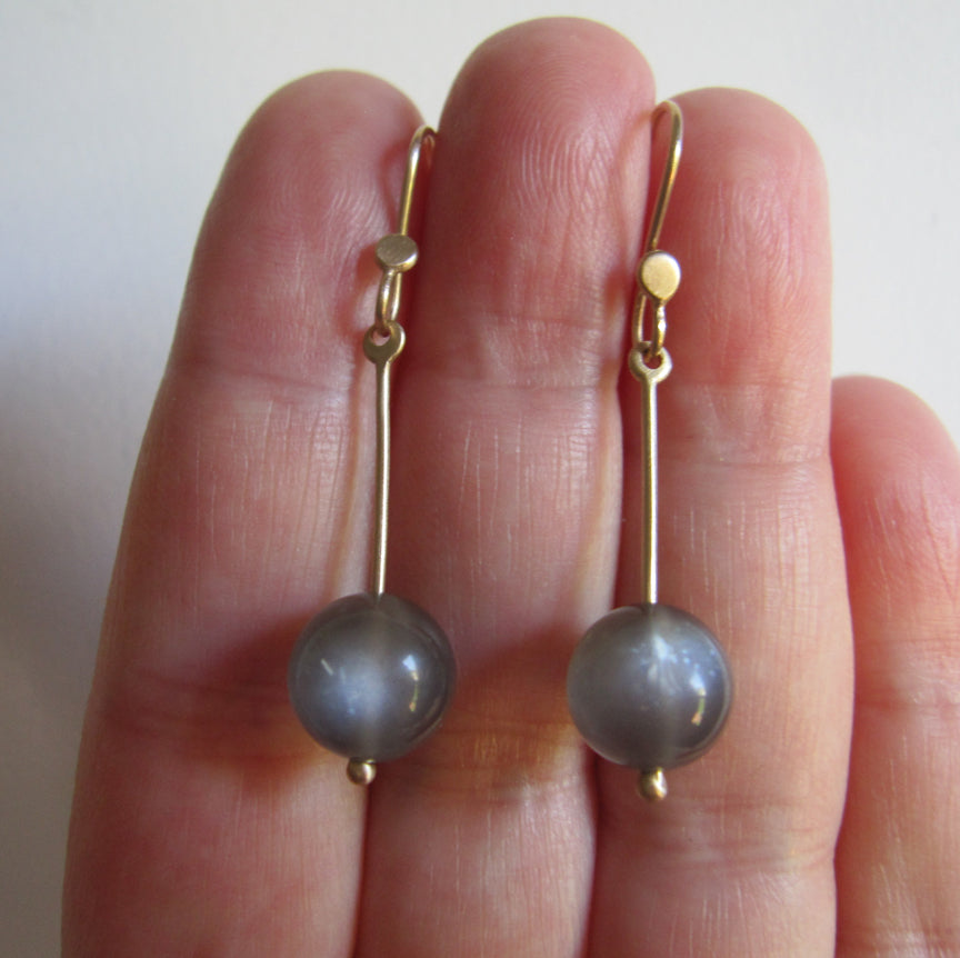 long gold rod and gray moonstone marble solid 14k gold earrings5