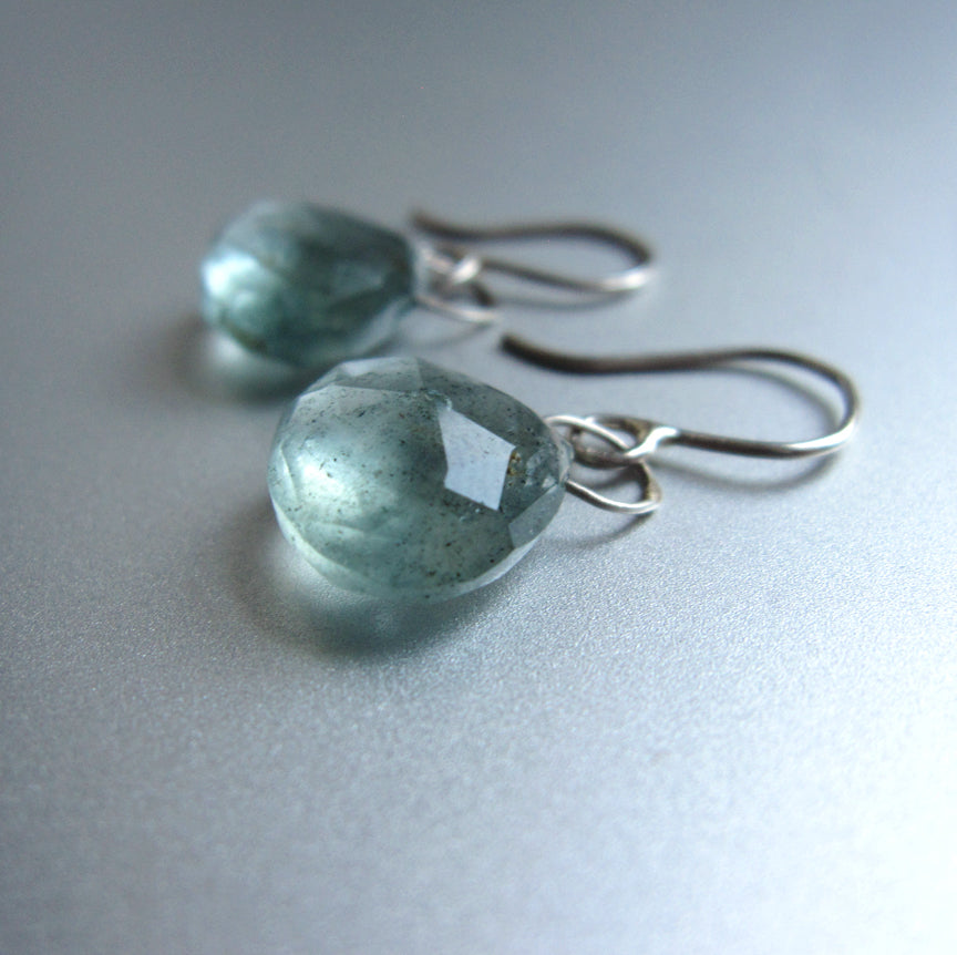 blue green moss aquamarine drops sterling silver earrings