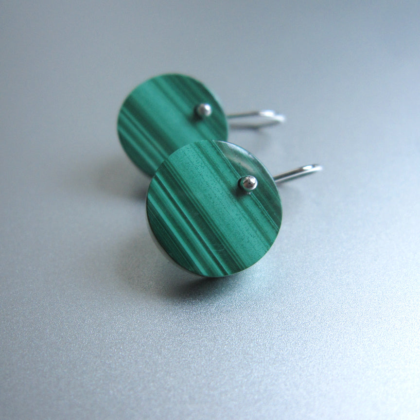striped green malachite button disc drops sterling silver earrings