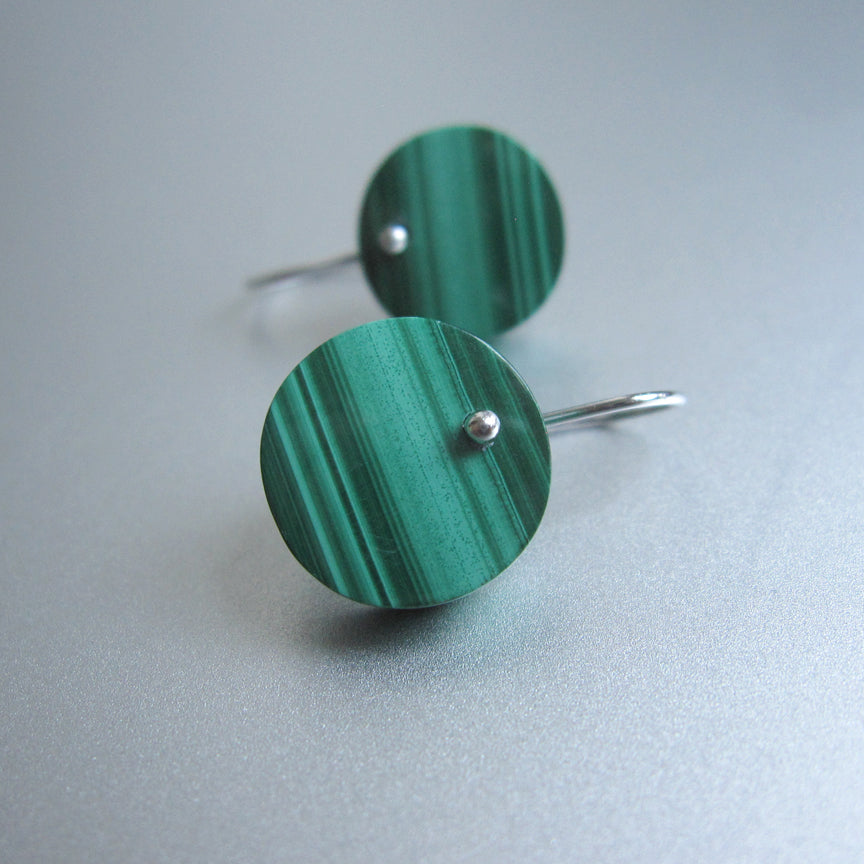 striped green malachite button disc drops sterling silver earrings2