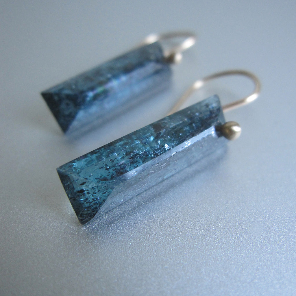 teal moss kyanite faceted bars solid 14k gold earrings