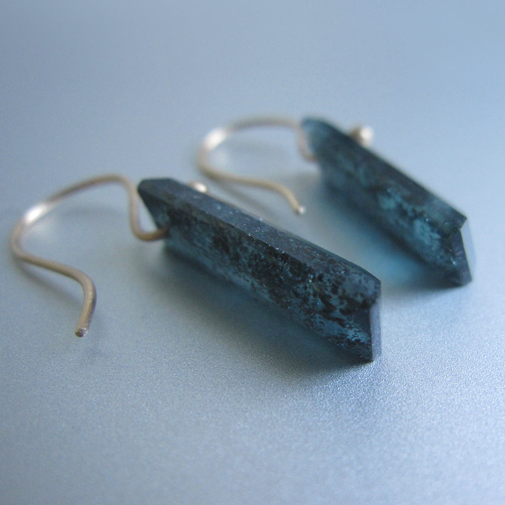 teal moss kyanite faceted bars solid 14k gold earrings5