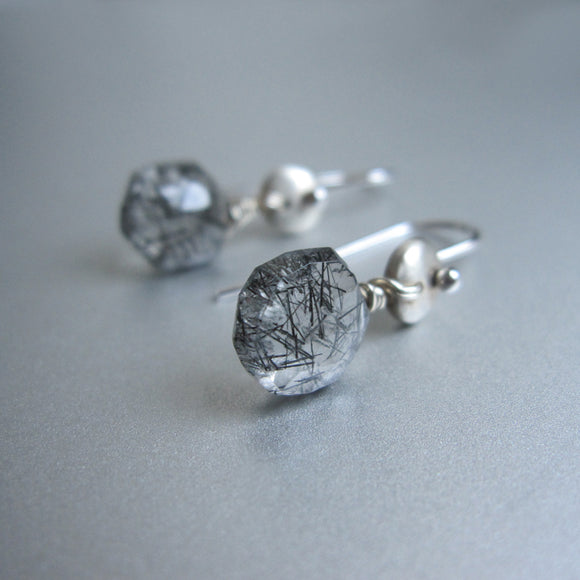 Black Rutilated Quartz Drops Sterling Silver Disc Earrings