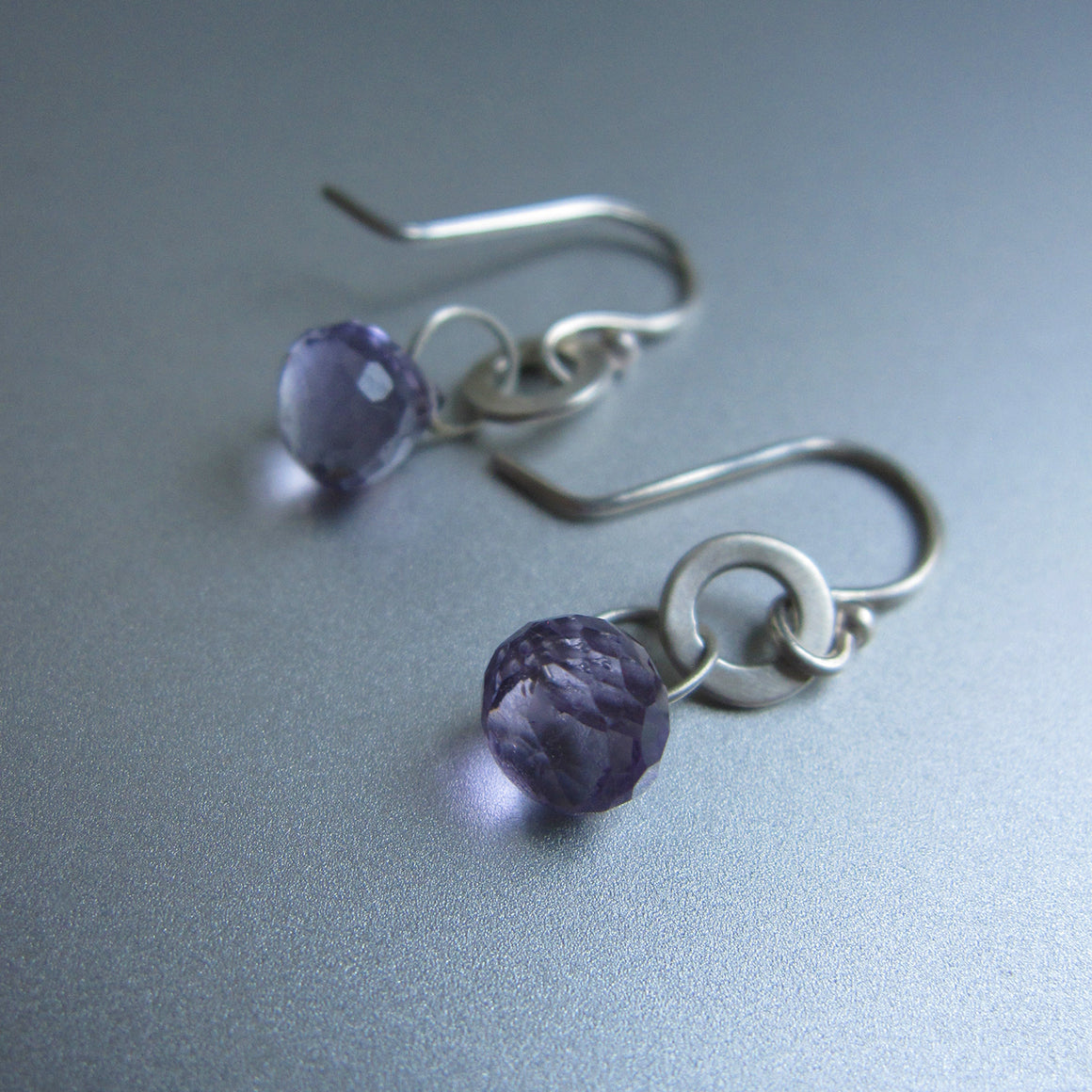 amethyst and hammered round link drop sterling silver earrings2