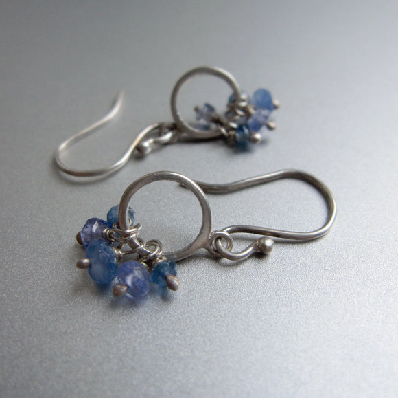 sapphire kyanite tanzanite sterling silver loop earrings2