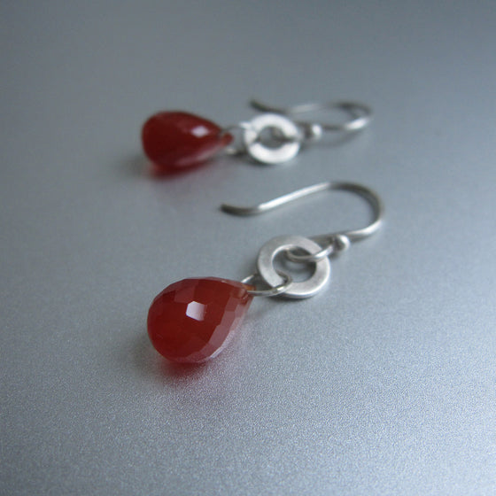 faceted carnelian drops hammered link sterling silver earrings