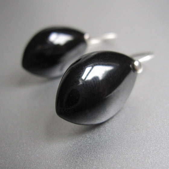 black spinel marquise drops sterling silver earrings