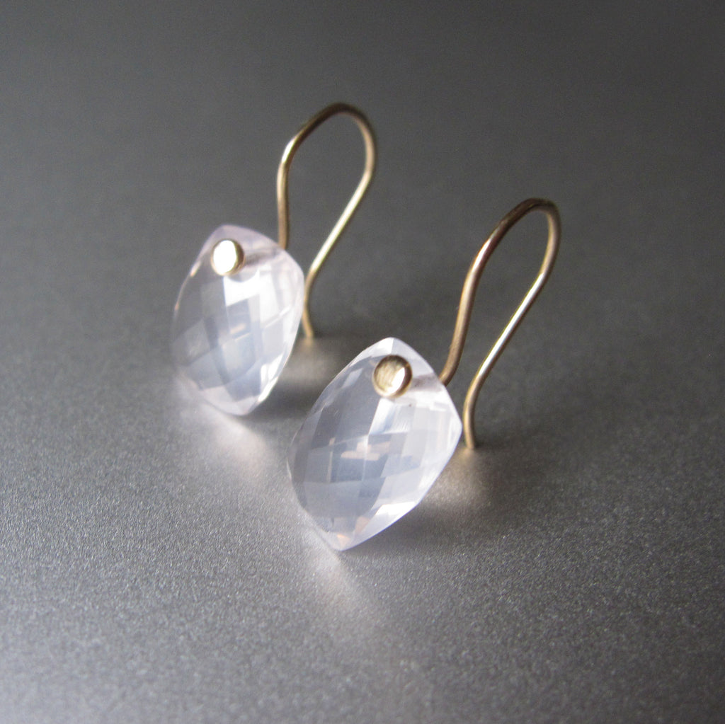 rose quartz faceted cushion drops solid 14k gold earrings6