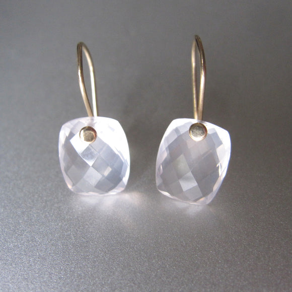 rose quartz faceted cushion drops solid 14k gold earrings