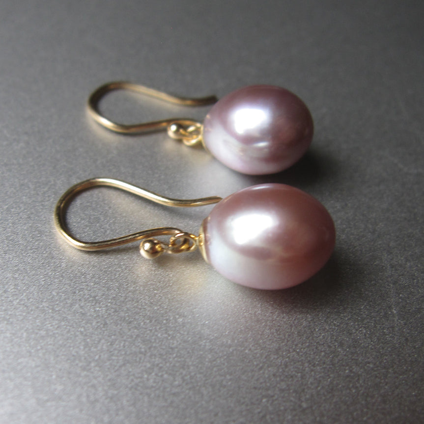 pink pearl drops solid 14k gold earrings