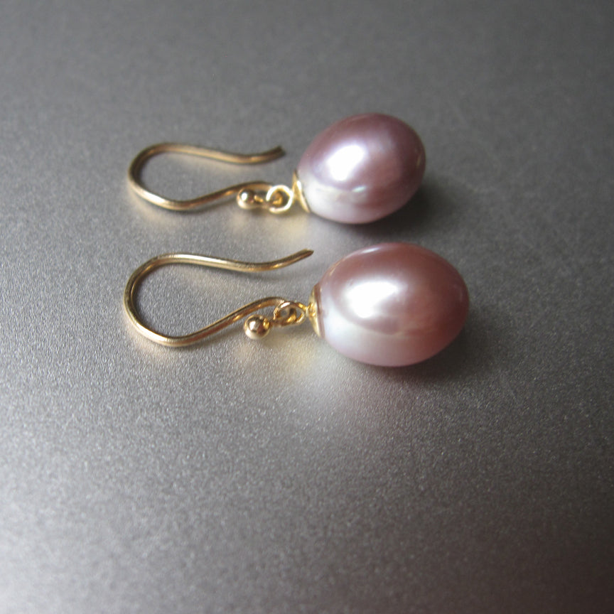 pink pearl drops solid 14k gold earrings2
