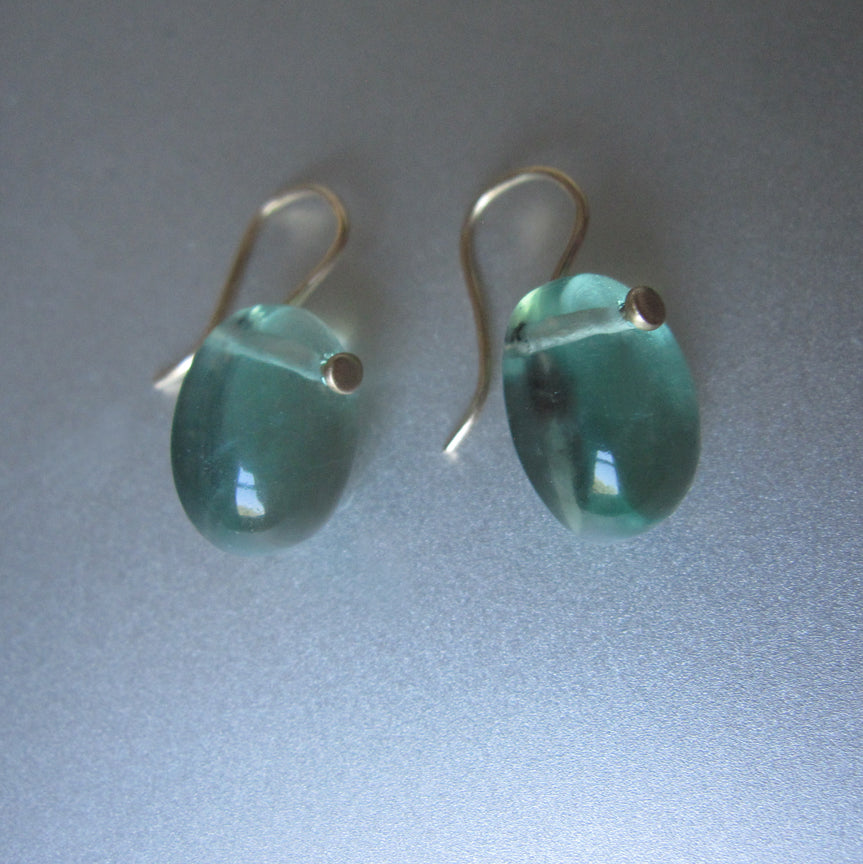 Green Fluorite Smooth Oval Drops Solid 14k Yellow Gold Earrings