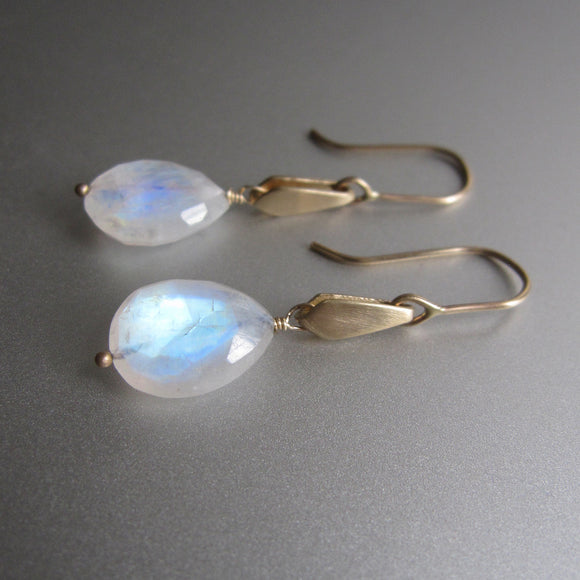 gold kite slides with rainbow moonstone drops solid 14k gold earrings