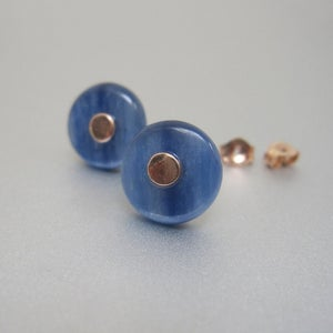 blue kyanite button solid 14k rose gold stud earrings3