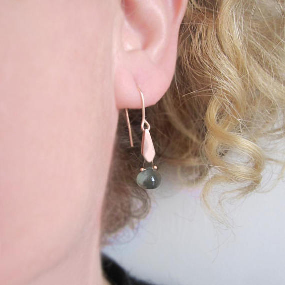 Blue Iolite Drops Gold Kite Solid 14k Rose Gold Earrings similar moss aquamarine version