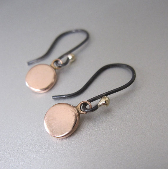 Rose Gold Discs Antiqued Sterling and Solid 14k and 18k Gold Earrings