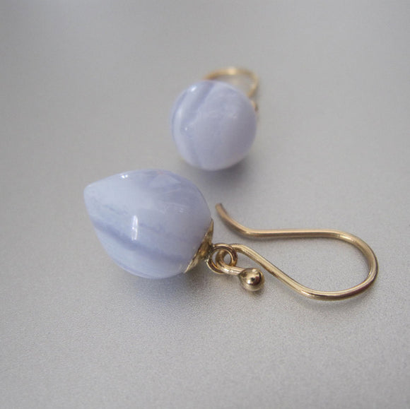 inverted blue lace agate drops solid 14k gold earrings