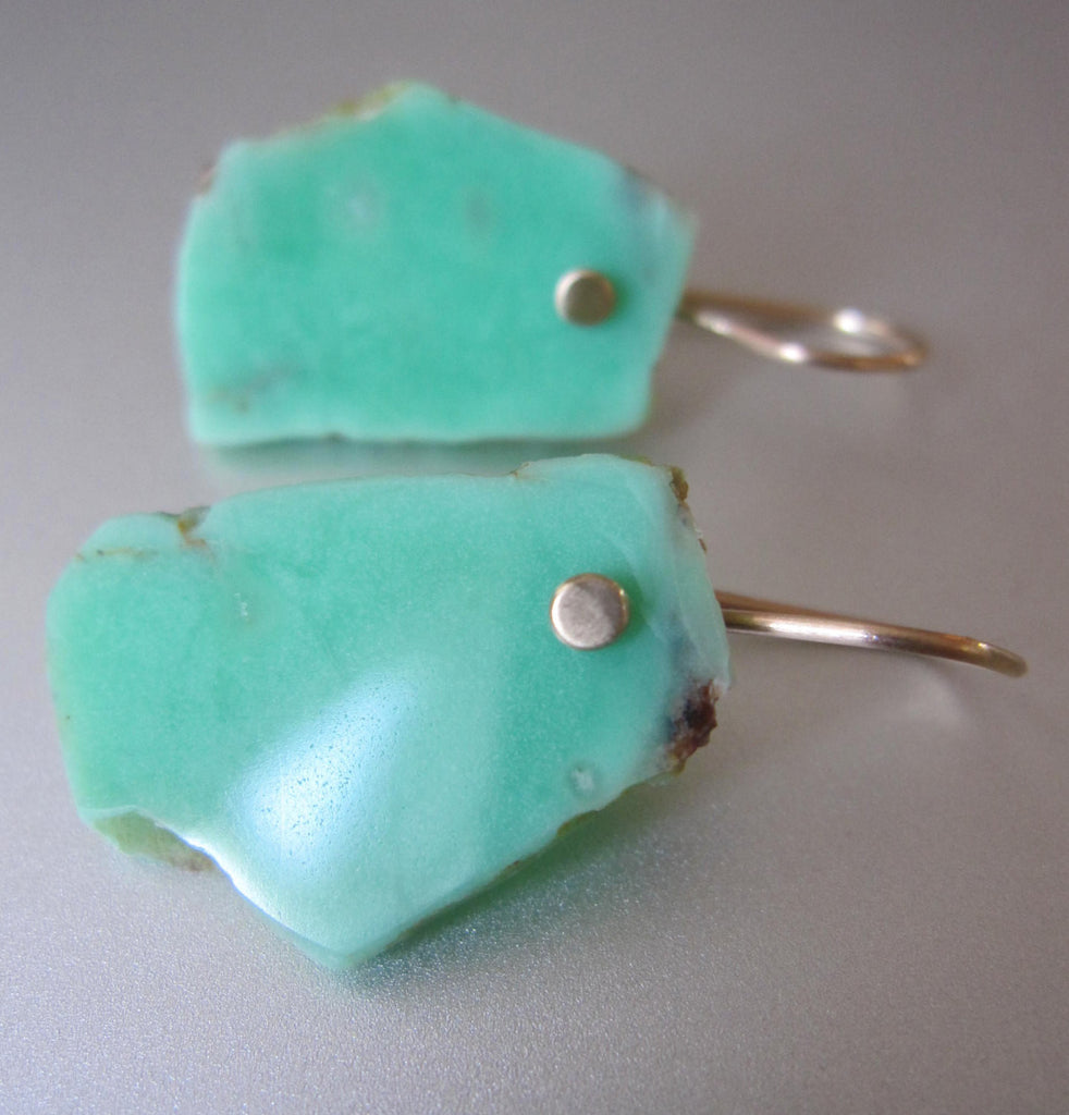 Raw Chrysoprase Slices Solid 14k Gold Earrings