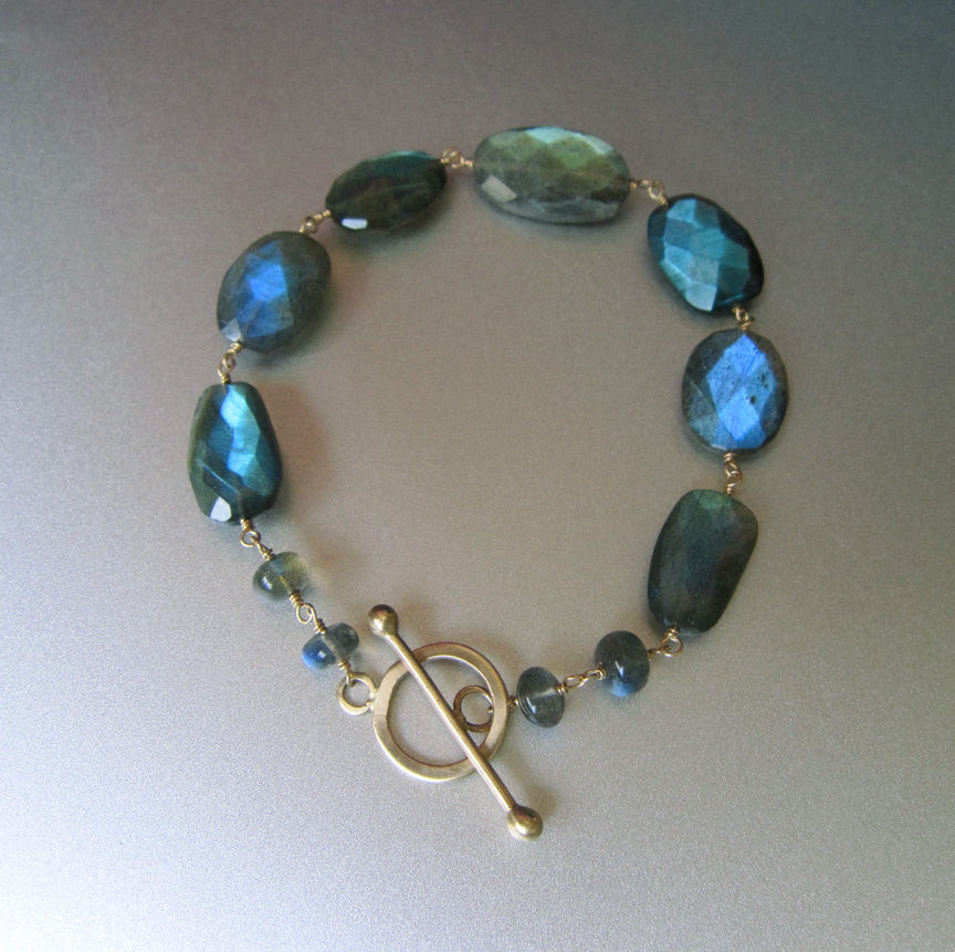 blue green labradorite solid 14k gold toggle bracelet