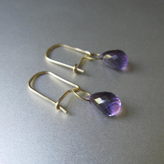 amethyst drop 18k gold kidney wire solid gold earrings