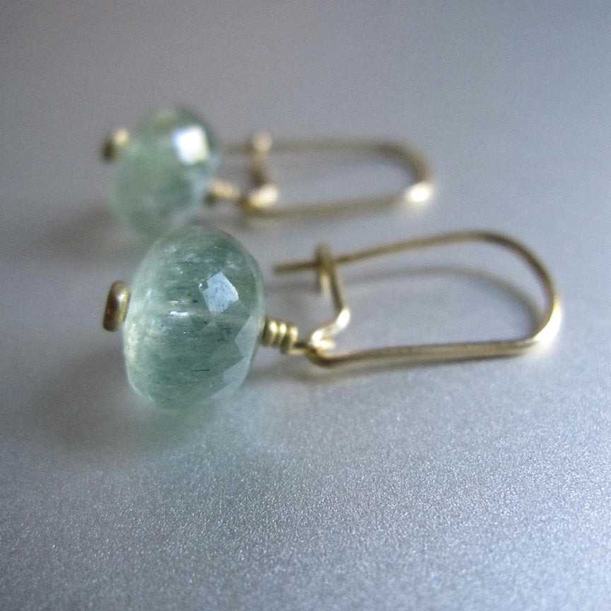 Moss Aquamarine Drop 18K Gold Kidney Wire Solid Gold Earrings