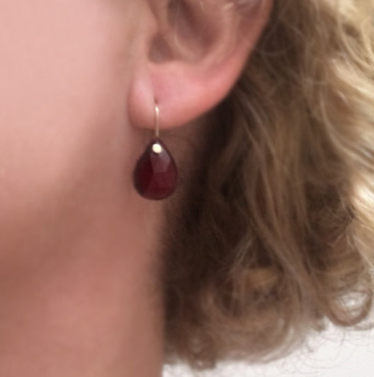 Rose Cut Garnet Drops Solid 14k Gold Earrings