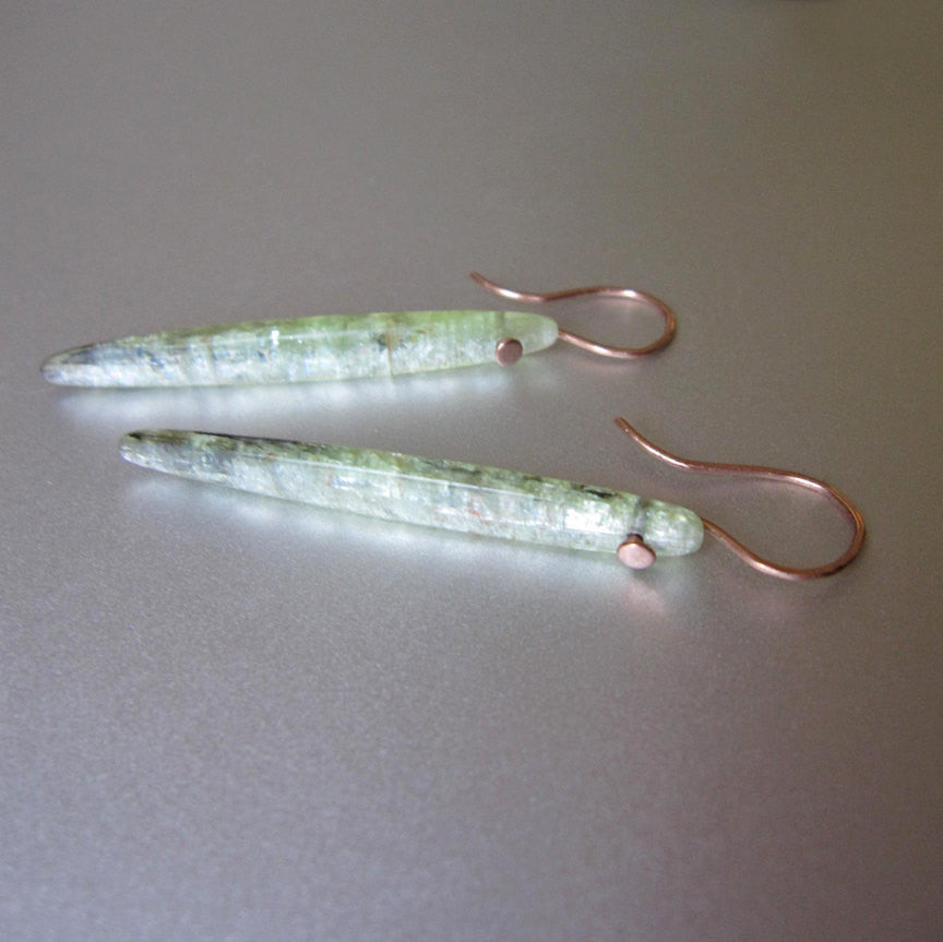Long Green Kyanite Spikes Solid 14k Rose Gold Earrings